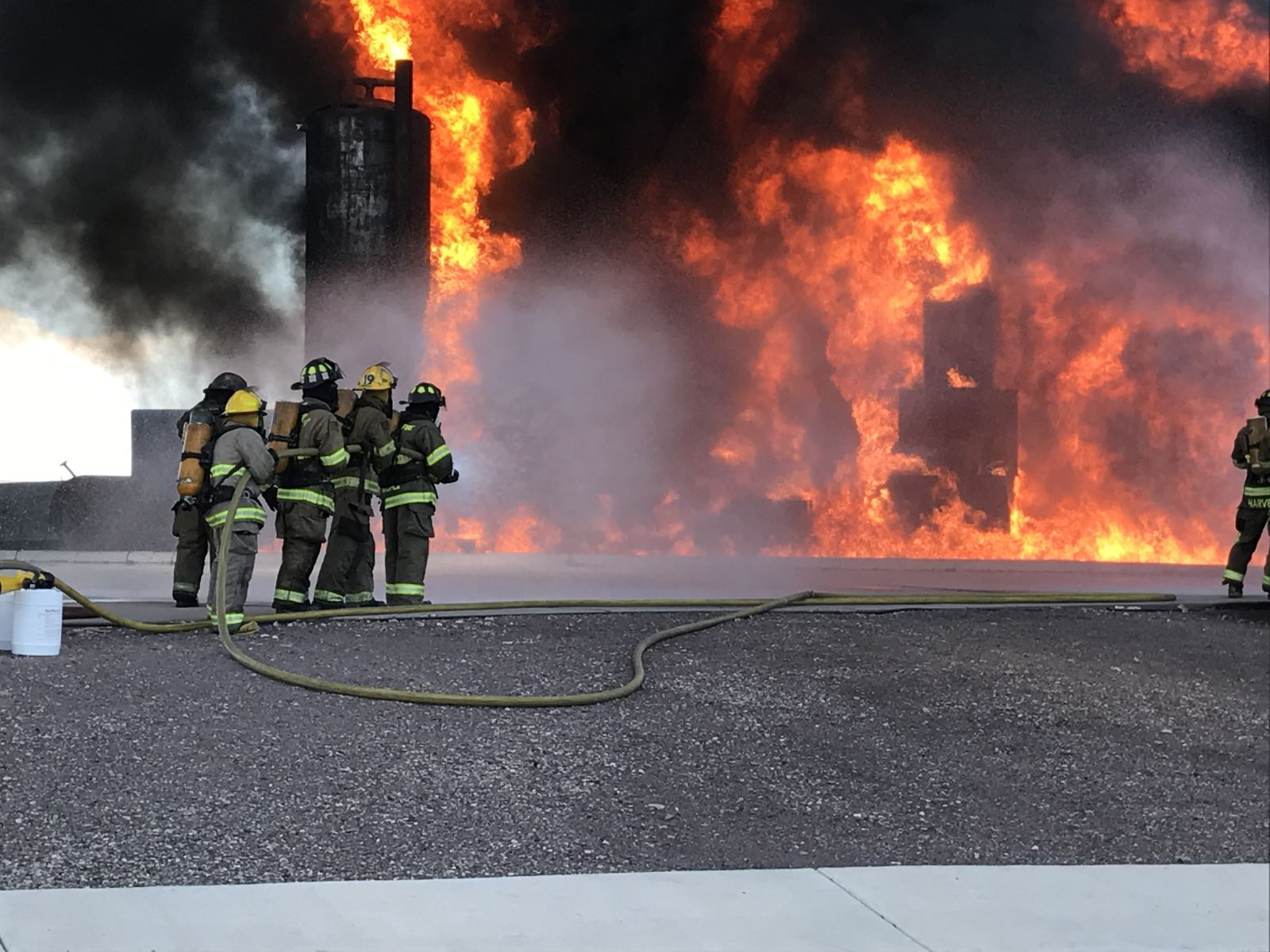Laguna Fire Department puts out the flames of burning buildings